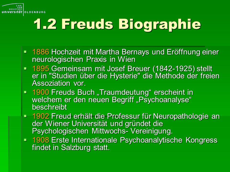 1.2 Freuds Biographie 1886 Hochzeit mit Martha Bernays und Eröffnung einer neurologischen Praxis in Wien 1886 Hochzeit mit Martha Bernays und Eröffnun