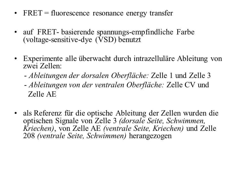 FRET = fluorescence resonance energy transfer auf FRET- basierende spannungs-empfindliche Farbe (voltage-sensitive-dye (VSD) benutzt Experimente alle