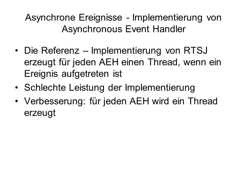 Asynchrone Ereignisse - Implementierung von Asynchronous Event Handler Die Referenz – Implementierung von RTSJ erzeugt für jeden AEH einen Thread, wenn ein Ereignis aufgetreten ist Schlechte Leistung der Implementierung Verbesserung: für jeden AEH wird ein Thread erzeugt