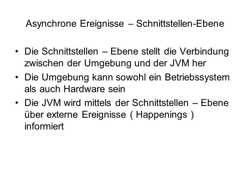Asynchrone Ereignisse – Schnittstellen-Ebene Die Schnittstellen – Ebene stellt die Verbindung zwischen der Umgebung und der JVM her Die Umgebung kann sowohl ein Betriebssystem als auch Hardware sein Die JVM wird mittels der Schnittstellen – Ebene über externe Ereignisse ( Happenings ) informiert