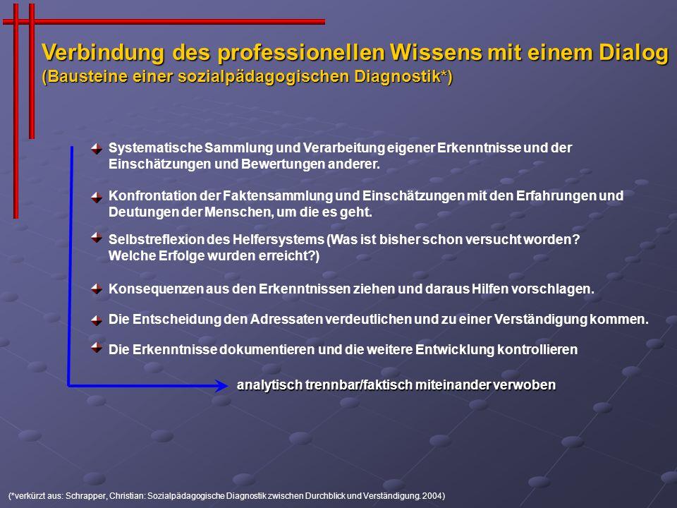 (*verkürzt aus: Schrapper, Christian: Sozialpädagogische Diagnostik zwischen Durchblick und Verständigung. 2004) Systematische Sammlung und Verarbeitu