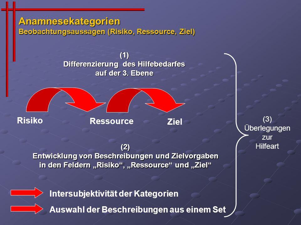 (1) Differenzierung des Hilfebedarfes auf der 3. Ebene RessourceZiel Risiko Intersubjektivität der Kategorien Auswahl der Beschreibungen aus einem Set