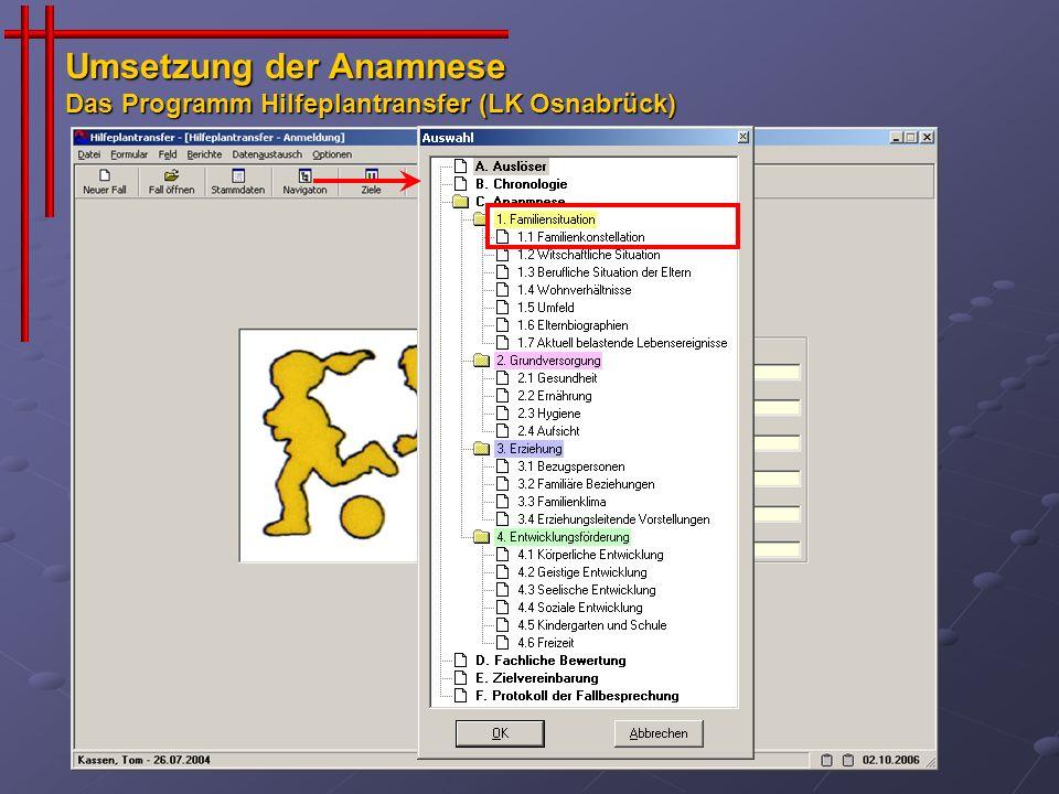 Umsetzung der Anamnese Das Programm Hilfeplantransfer (LK Osnabrück)