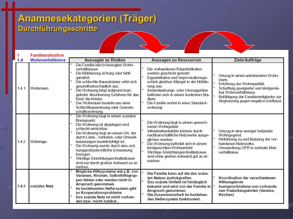 Anamnesekategorien (Träger) Durchführungsschritte