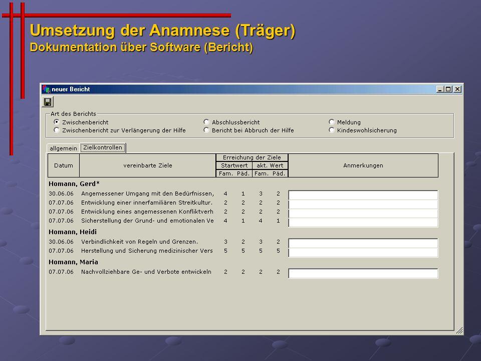 Umsetzung der Anamnese (Träger) Dokumentation über Software (Bericht)