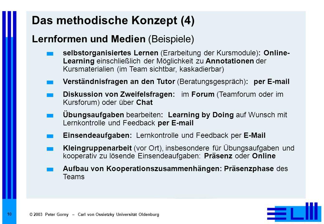 © 2003 Peter Gorny – Carl von Ossietzky Universität Oldenburg 10 Das methodische Konzept (4) Lernformen und Medien (Beispiele) selbstorganisiertes Ler