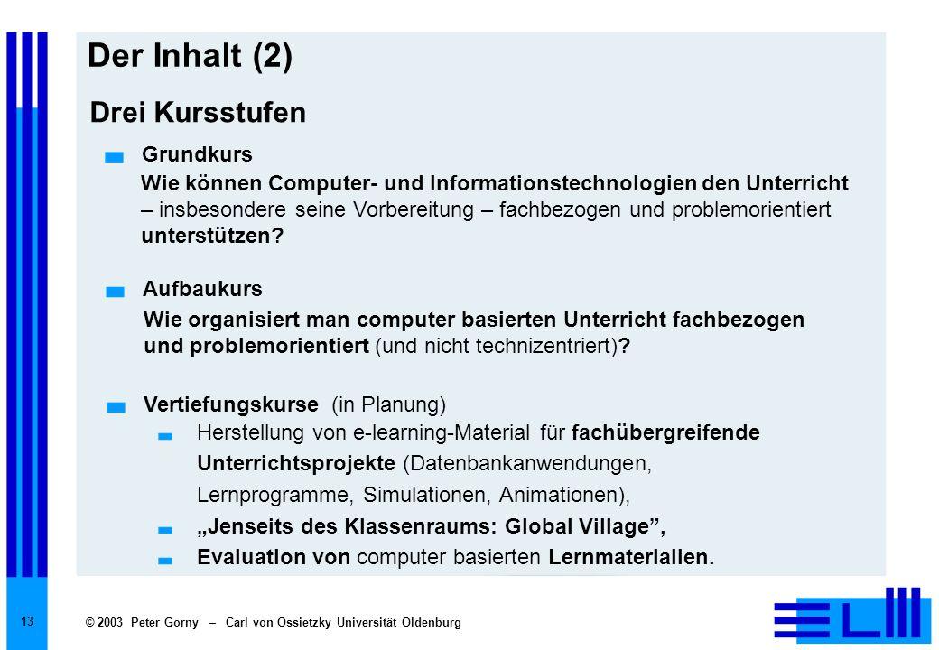 © 2003 Peter Gorny – Carl von Ossietzky Universität Oldenburg 13 Der Inhalt (2) Herstellung von e-learning-Material für fachübergreifende Unterrichtsp