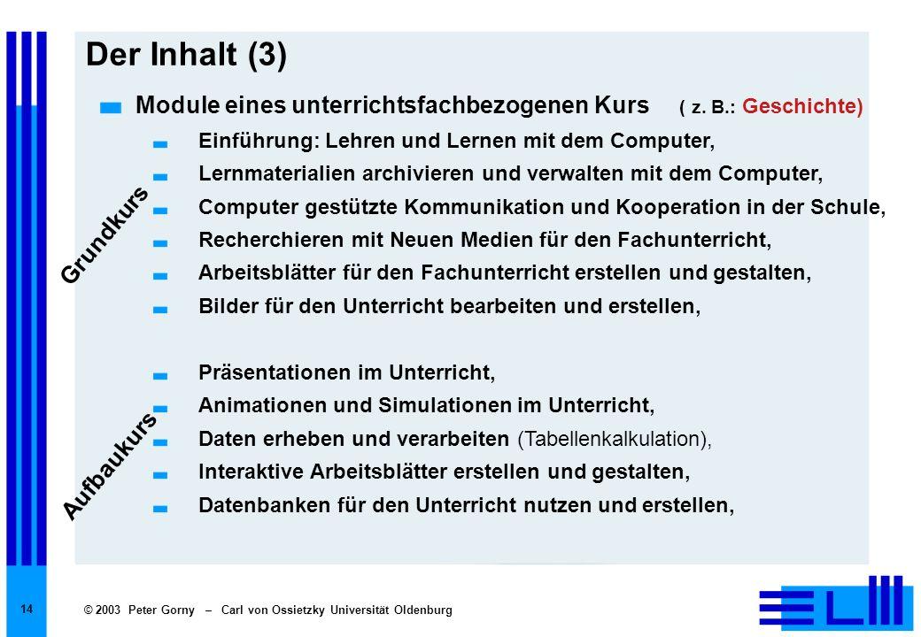 © 2003 Peter Gorny – Carl von Ossietzky Universität Oldenburg 14 Der Inhalt (3) Module eines unterrichtsfachbezogenen Kurs ( z. B.: Geschichte) Einfüh