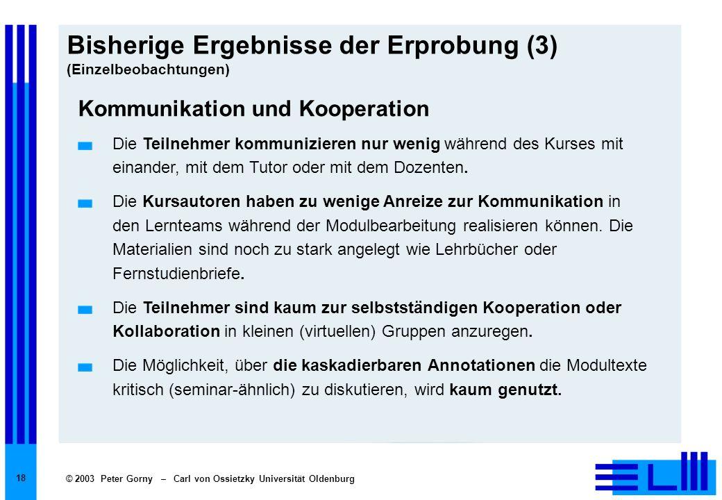 © 2003 Peter Gorny – Carl von Ossietzky Universität Oldenburg 18 Bisherige Ergebnisse der Erprobung (3) (Einzelbeobachtungen) Kommunikation und Kooper