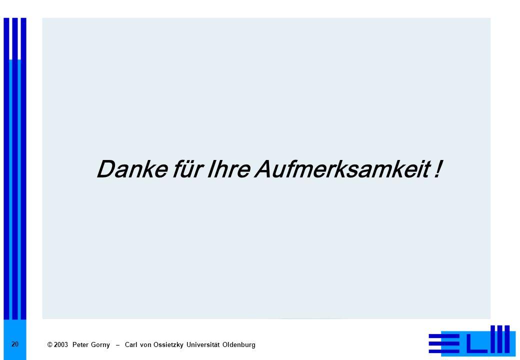 © 2003 Peter Gorny – Carl von Ossietzky Universität Oldenburg 20 Danke für Ihre Aufmerksamkeit !