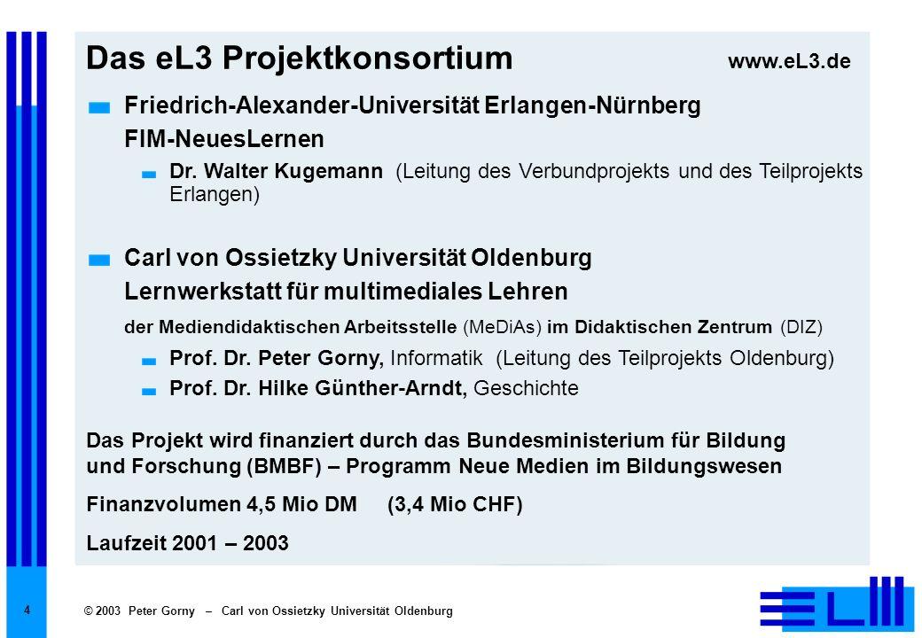 © 2003 Peter Gorny – Carl von Ossietzky Universität Oldenburg 15 Durchführung des Projekts Mitarbeiter 11 Vollzeitstellen (in den zwei Teilprojekten), 15 Lehrerinnen und Lehrer (mit Teilzeit-Beurlaubung aus der Schule).