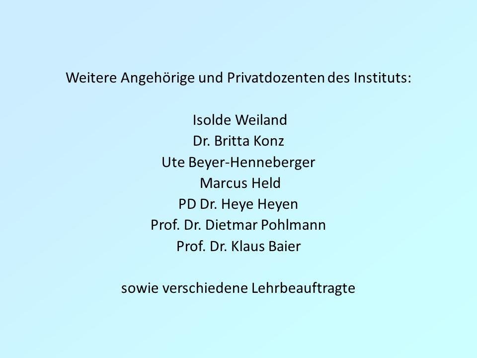 Weitere Angehörige und Privatdozenten des Instituts: Isolde Weiland Dr. Britta Konz Ute Beyer-Henneberger Marcus Held PD Dr. Heye Heyen Prof. Dr. Diet
