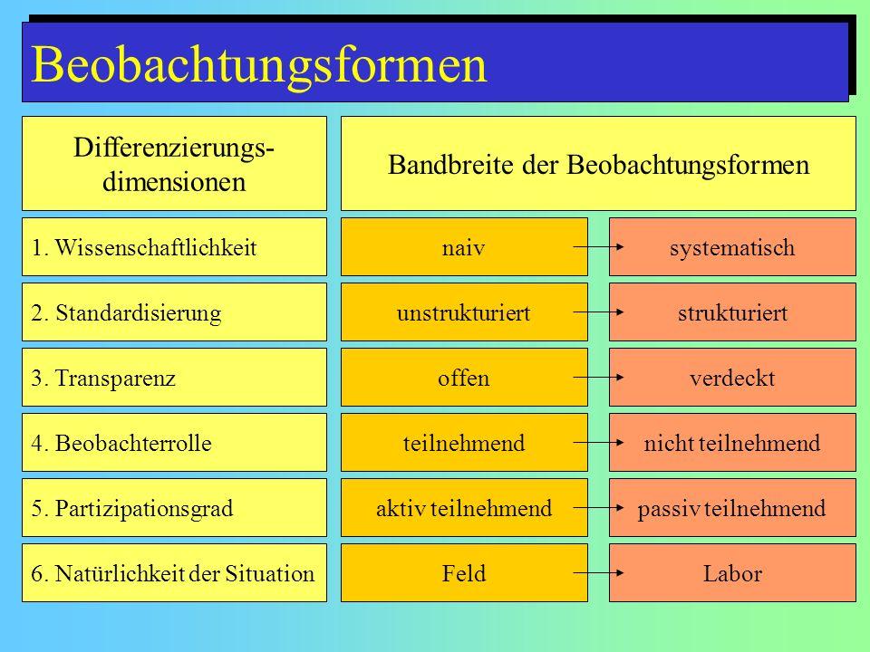 Beobachtungsformen Differenzierungs- dimensionen Bandbreite der Beobachtungsformen 1.