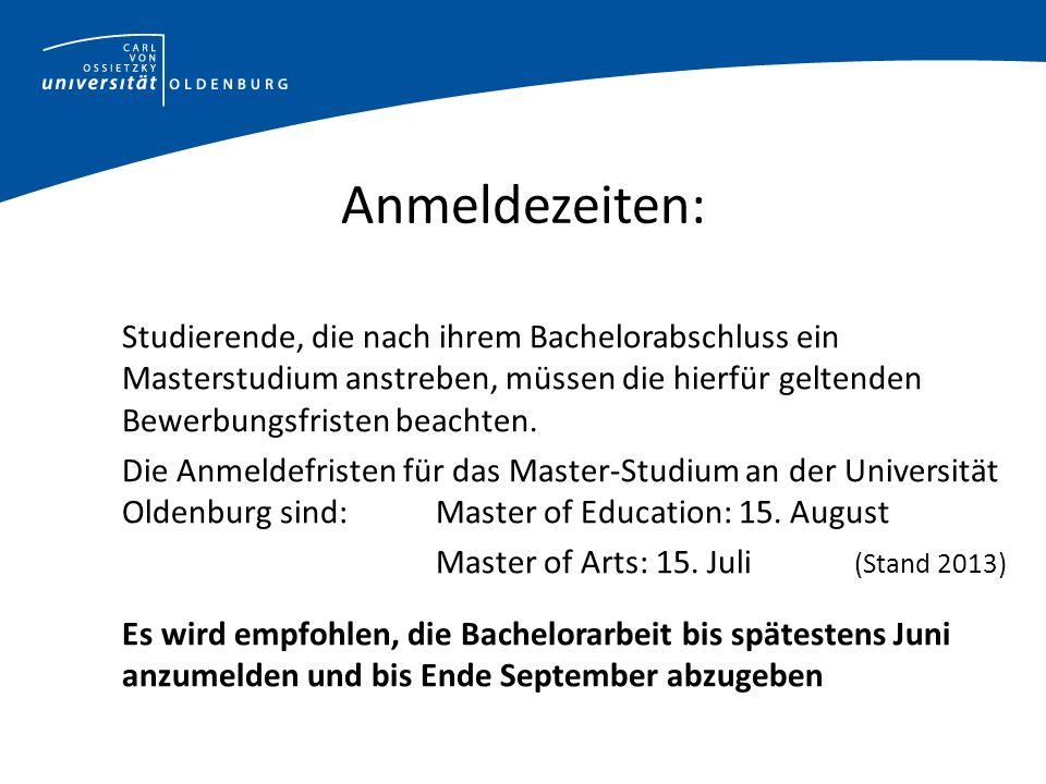 Bewerbung zum Masterstudium Die Bewerbung zum Master an der Universität Oldenburg ist mit 150 KP möglich.
