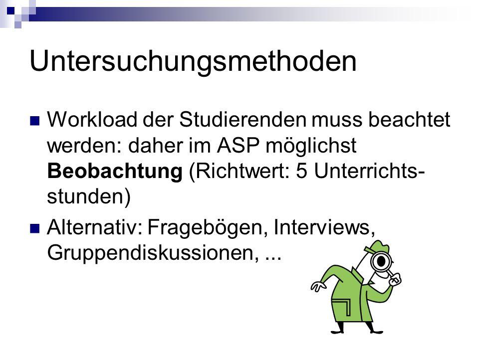 Untersuchungsmethoden Workload der Studierenden muss beachtet werden: daher im ASP möglichst Beobachtung (Richtwert: 5 Unterrichts- stunden) Alternati