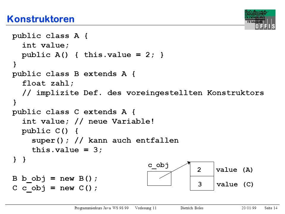 Programmierkurs Java WS 98/99 Vorlesung 11 Dietrich Boles 20/01/99Seite 14 Konstruktoren public class A { int value; public A() { this.value = 2; } }