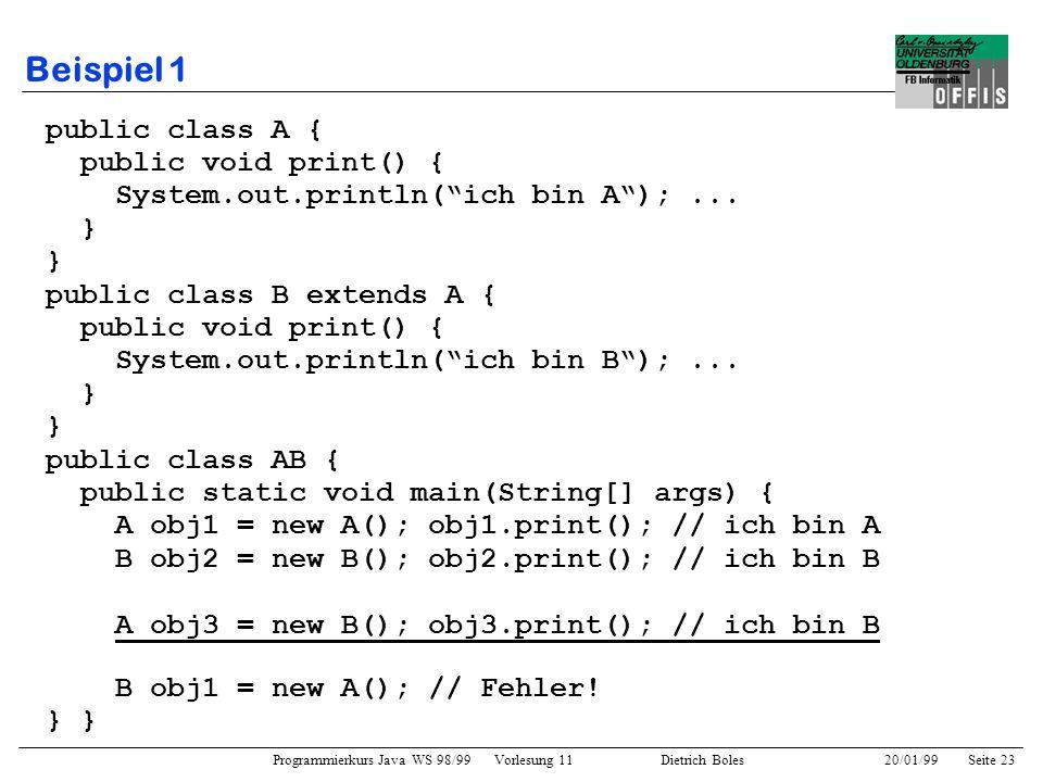 Programmierkurs Java WS 98/99 Vorlesung 11 Dietrich Boles 20/01/99Seite 23 Beispiel 1 public class A { public void print() { System.out.println(ich bi