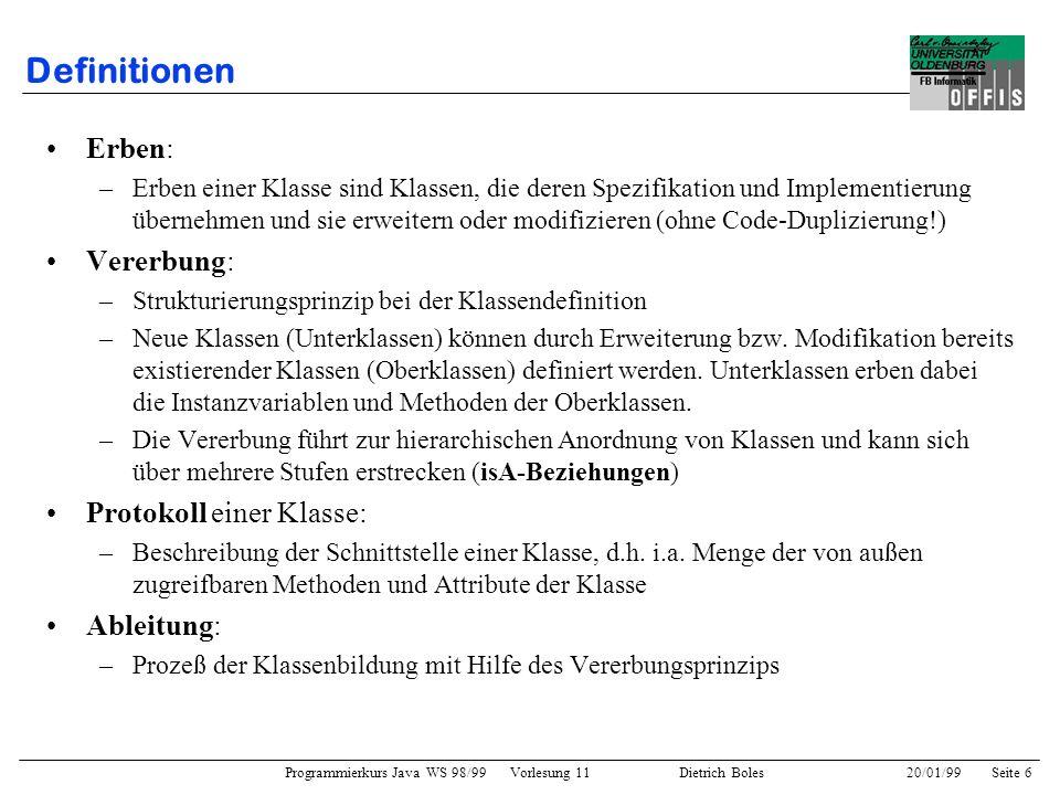 Programmierkurs Java WS 98/99 Vorlesung 11 Dietrich Boles 20/01/99Seite 6 Definitionen Erben: –Erben einer Klasse sind Klassen, die deren Spezifikatio