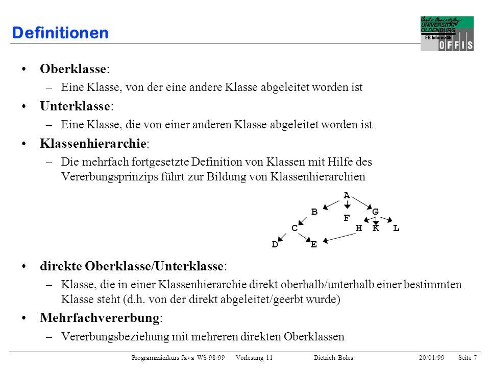 Programmierkurs Java WS 98/99 Vorlesung 11 Dietrich Boles 20/01/99Seite 7 Definitionen Oberklasse: –Eine Klasse, von der eine andere Klasse abgeleitet