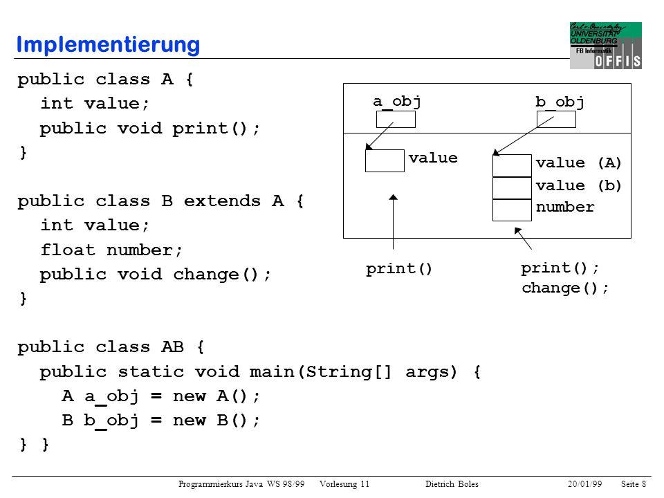Programmierkurs Java WS 98/99 Vorlesung 11 Dietrich Boles 20/01/99Seite 19 Beispiel 1 public class Hamster { // in speziellem Paket public void vor() {...} public void links_um() {...} public void gib() {...} public void nimm() {...} public boolean vorn_frei() {...} public boolean korn_da() {...} public boolean maul_leer() {...} } public class MyHamster extends Hamster { public void go() { vor(); // Aufruf der geerbten Methode if (korn_da()) nimm(); vor(2); // Aufruf der überladenen Methode } public void vor(int anzahl) { while (vorn_frei() && (anzahl > 0)) { vor(); anzahl--; } } }