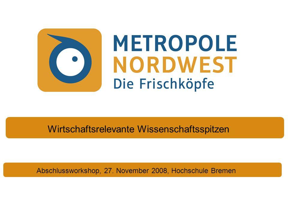 Abschlussworkshop, 27. November 2008, Hochschule Bremen Wirtschaftsrelevante Wissenschaftsspitzen