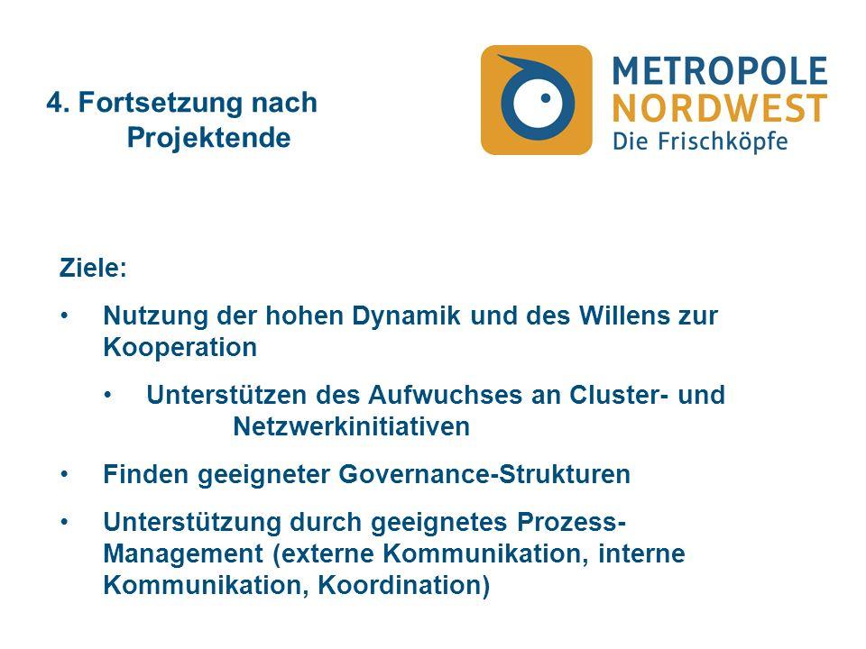 4. Fortsetzung nach Projektende Ziele: Nutzung der hohen Dynamik und des Willens zur Kooperation Unterstützen des Aufwuchses an Cluster- und Netzwerki