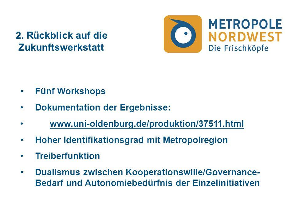 2. Rückblick auf die Zukunftswerkstatt Fünf Workshops Dokumentation der Ergebnisse: www.uni-oldenburg.de/produktion/37511.html Hoher Identifikationsgr