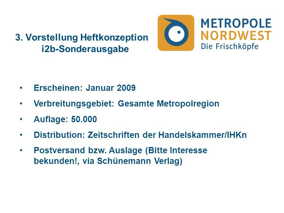 3. Vorstellung Heftkonzeption i2b-Sonderausgabe Erscheinen: Januar 2009 Verbreitungsgebiet: Gesamte Metropolregion Auflage: 50.000 Distribution: Zeits