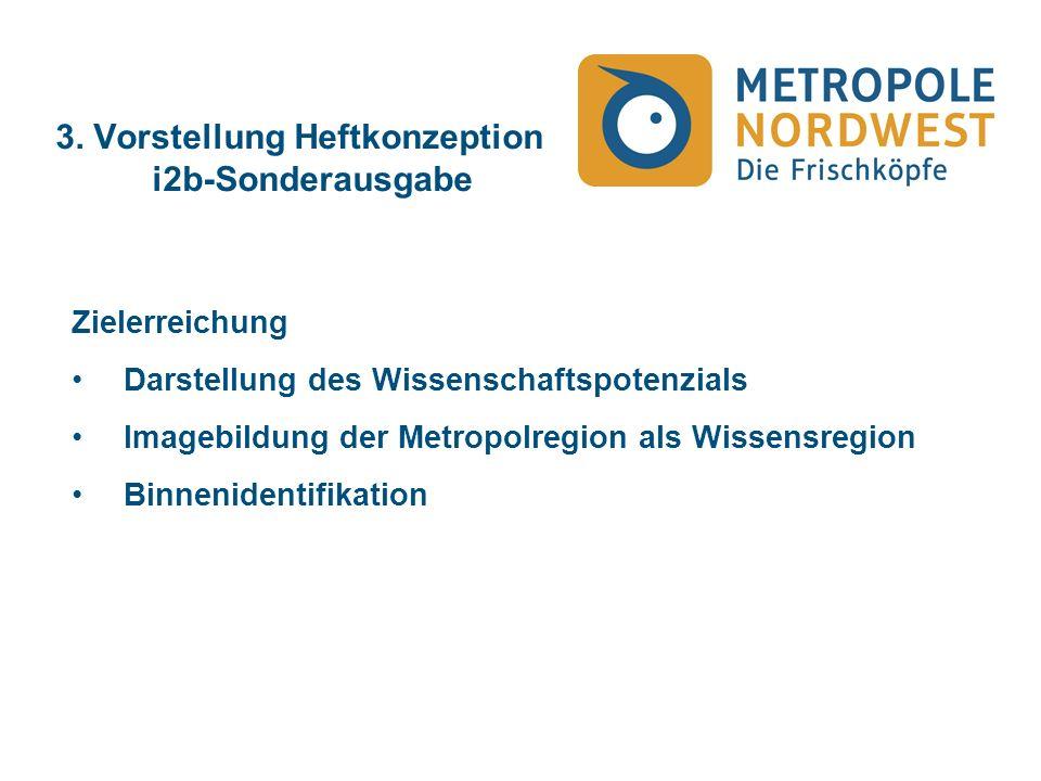 3. Vorstellung Heftkonzeption i2b-Sonderausgabe Zielerreichung Darstellung des Wissenschaftspotenzials Imagebildung der Metropolregion als Wissensregi