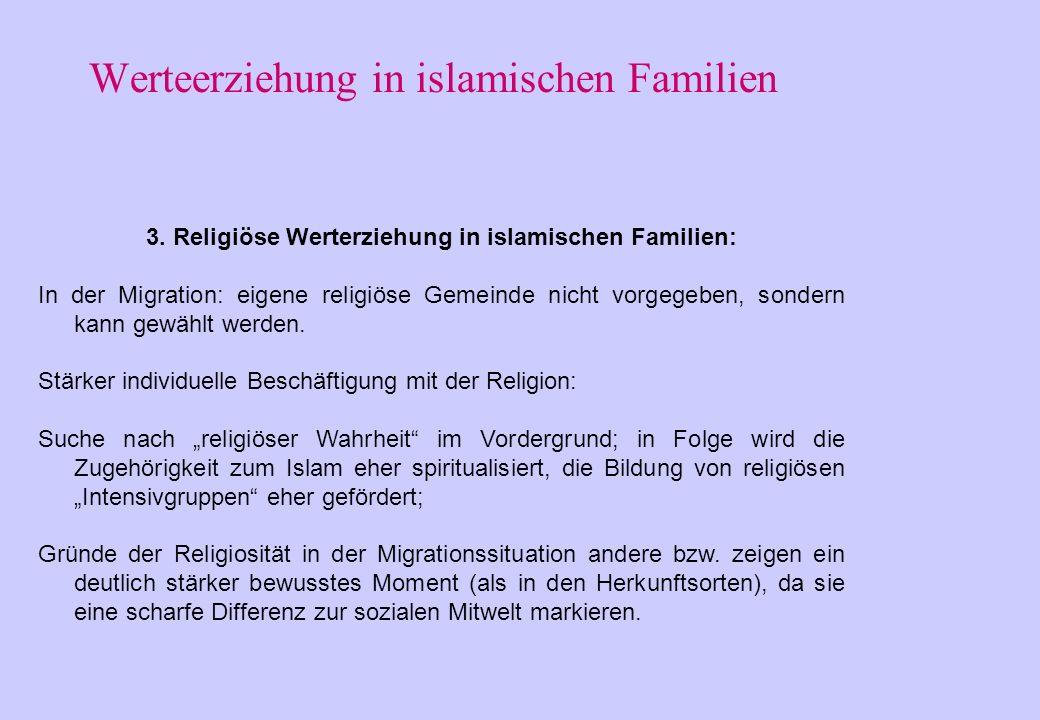 Werteerziehung in islamischen Familien 3. Religiöse Werterziehung in islamischen Familien: religiöse Sozialisation in den islamischen Ländern: vom Kon