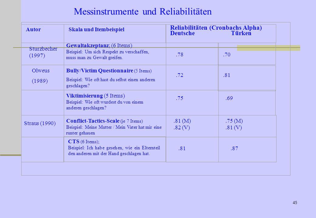 44 Messinstrumente und Reliabilitäten (Eltern)