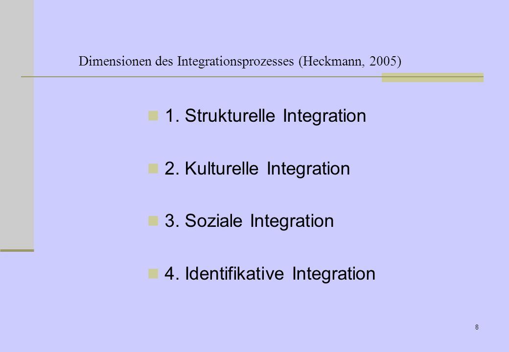 8 Dimensionen des Integrationsprozesses (Heckmann, 2005) 1.