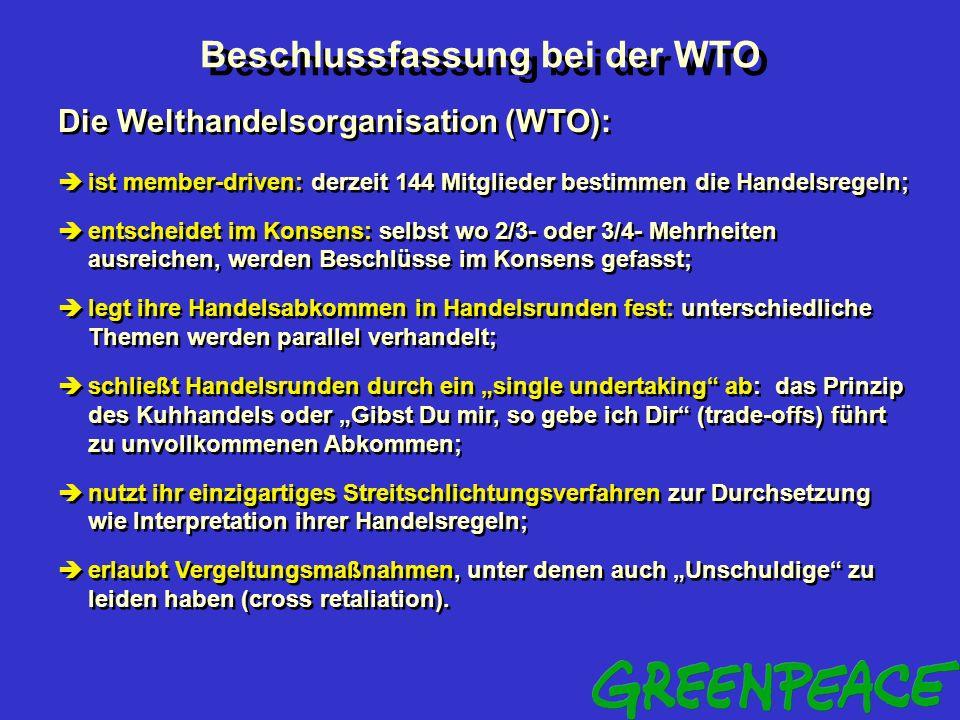 Handel gegen Umwelt Zusammenfassung der Probleme Das Verhältnis zwischen Handelsregeln und Umweltschutzabkommen ist ungeklärt. Handelsregeln kennen de