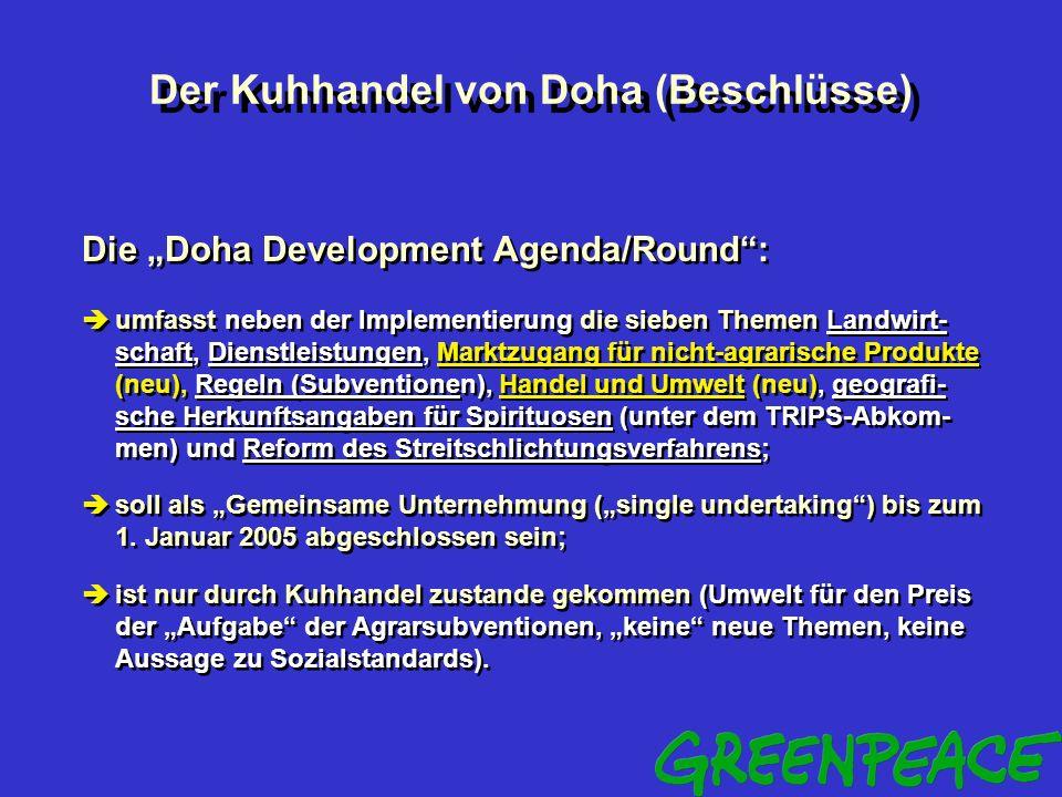 Der Kuhhandel von Doha (Umwelt) Umwelt in der Doha Development Agenda/Round: umweltrelevante Aspekte vor allen bei den Themen Landwirtschaft (Multifun