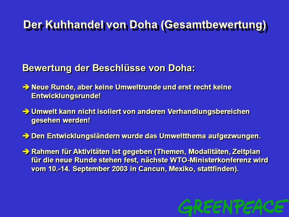 Der Kuhhandel von Doha (Bewertung) Bewertung der umweltrelevanten Doha-Beschlüsse: zu enge bzw. unklare Vorgaben für die Klärung des Verhältnisses zwi