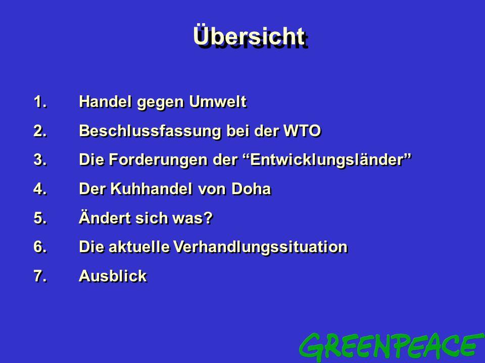 Handel, Umwelt und die Entwick- lungschancen des Südens in den neuen WTO-Verhandlungen Jürgen Knirsch Juergen.Knirsch@Greenpeace.de Universität Oldenb