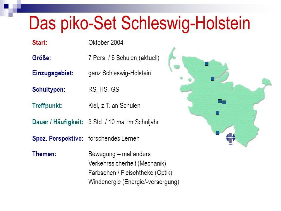 Das piko-Set Schleswig-Holstein Größe: 7 Pers. / 6 Schulen (aktuell) Start: Oktober 2004 Schultypen: RS, HS, GS Einzugsgebiet: ganz Schleswig-Holstein