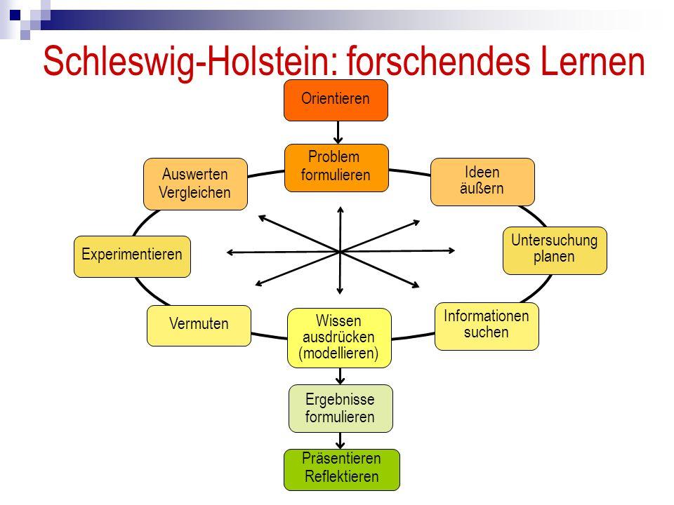 Schleswig-Holstein: forschendes Lernen Orientieren Problem formulieren Ideen äußern Untersuchung planen Informationen suchen Wissen ausdrücken (modellieren) Vermuten Experimentieren Auswerten Vergleichen Ergebnisse formulieren Präsentieren Reflektieren