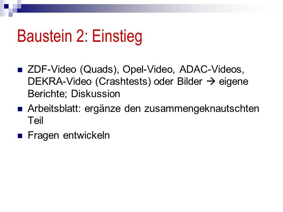 Baustein 2: Einstieg ZDF-Video (Quads), Opel-Video, ADAC-Videos, DEKRA-Video (Crashtests) oder Bilder eigene Berichte; Diskussion Arbeitsblatt: ergänze den zusammengeknautschten Teil Fragen entwickeln