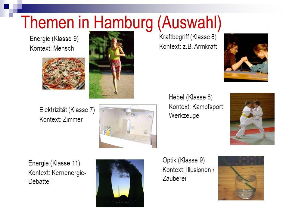 Themen in Hamburg (Auswahl) Kraftbegriff (Klasse 8) Kontext: z.B. Armkraft Elektrizität (Klasse 7) Kontext: Zimmer Energie (Klasse 11) Kontext: Kernen