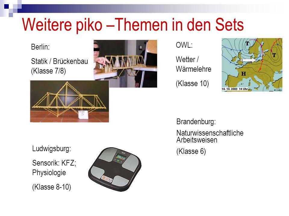 Weitere piko –Themen in den Sets Berlin: Statik / Brückenbau (Klasse 7/8) OWL: Wetter / Wärmelehre (Klasse 10) Ludwigsburg: Sensorik: KFZ; Physiologie (Klasse 8-10) Brandenburg: Naturwissenschaftliche Arbeitsweisen (Klasse 6)