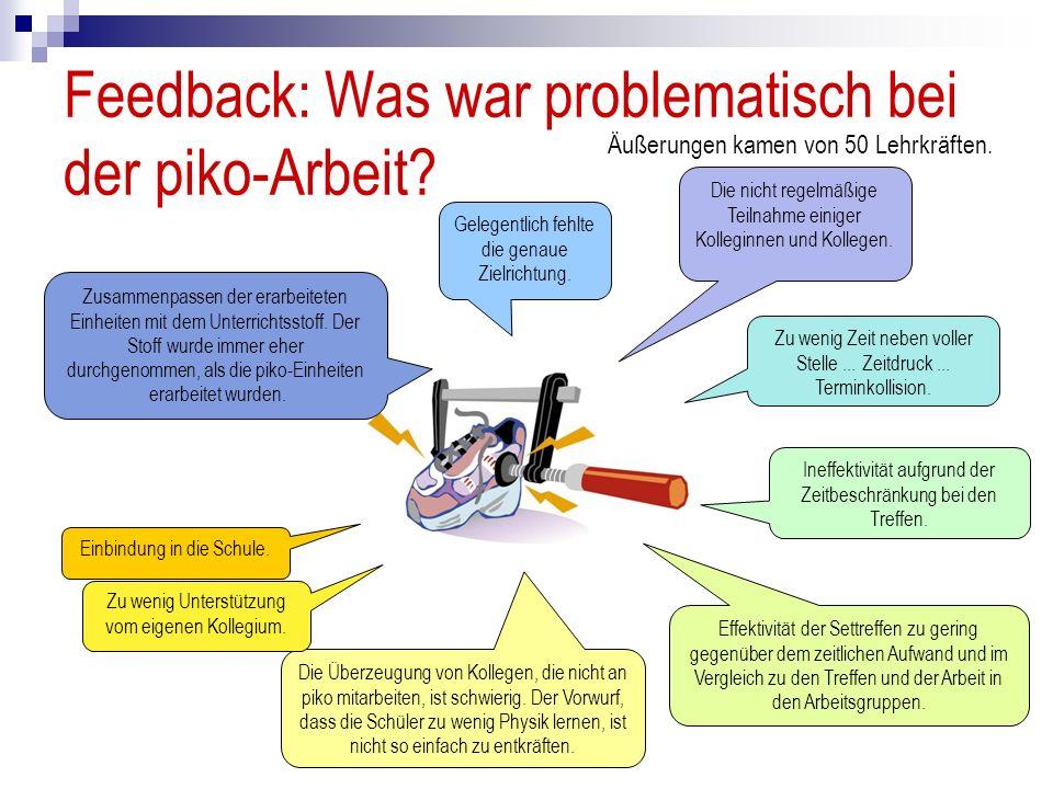 Feedback: Was war problematisch bei der piko-Arbeit? Gelegentlich fehlte die genaue Zielrichtung. Die nicht regelmäßige Teilnahme einiger Kolleginnen