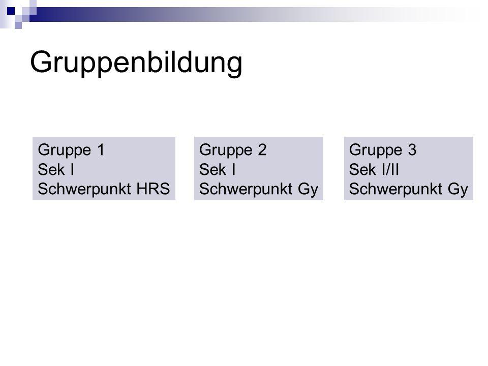 Gruppenbildung Gruppe 1 Sek I Schwerpunkt HRS Gruppe 3 Sek I/II Schwerpunkt Gy Gruppe 2 Sek I Schwerpunkt Gy