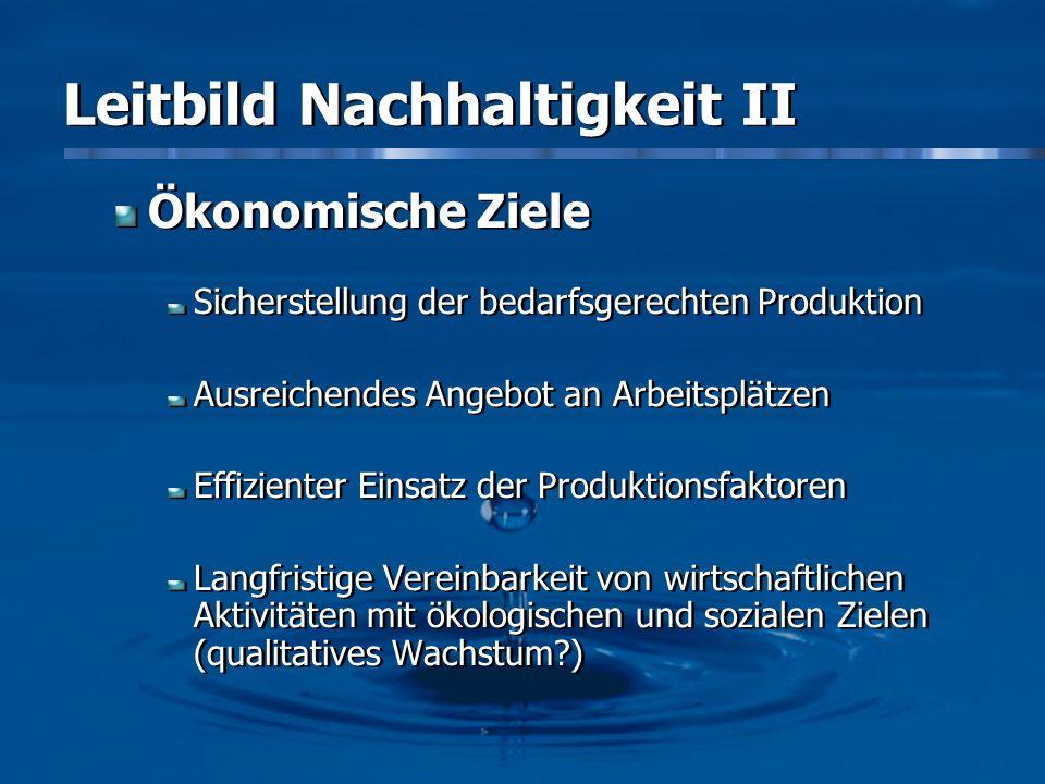 Leitbild Nachhaltigkeit II Ökonomische Ziele Sicherstellung der bedarfsgerechten Produktion Ausreichendes Angebot an Arbeitsplätzen Effizienter Einsat