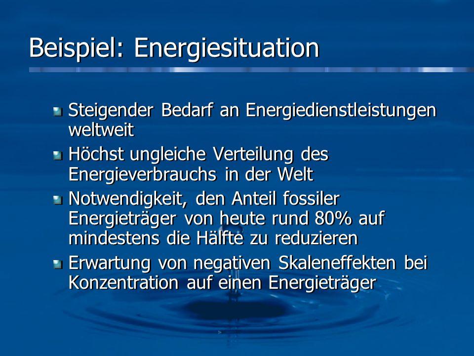 Beispiel: Energiesituation Steigender Bedarf an Energiedienstleistungen weltweit Höchst ungleiche Verteilung des Energieverbrauchs in der Welt Notwend