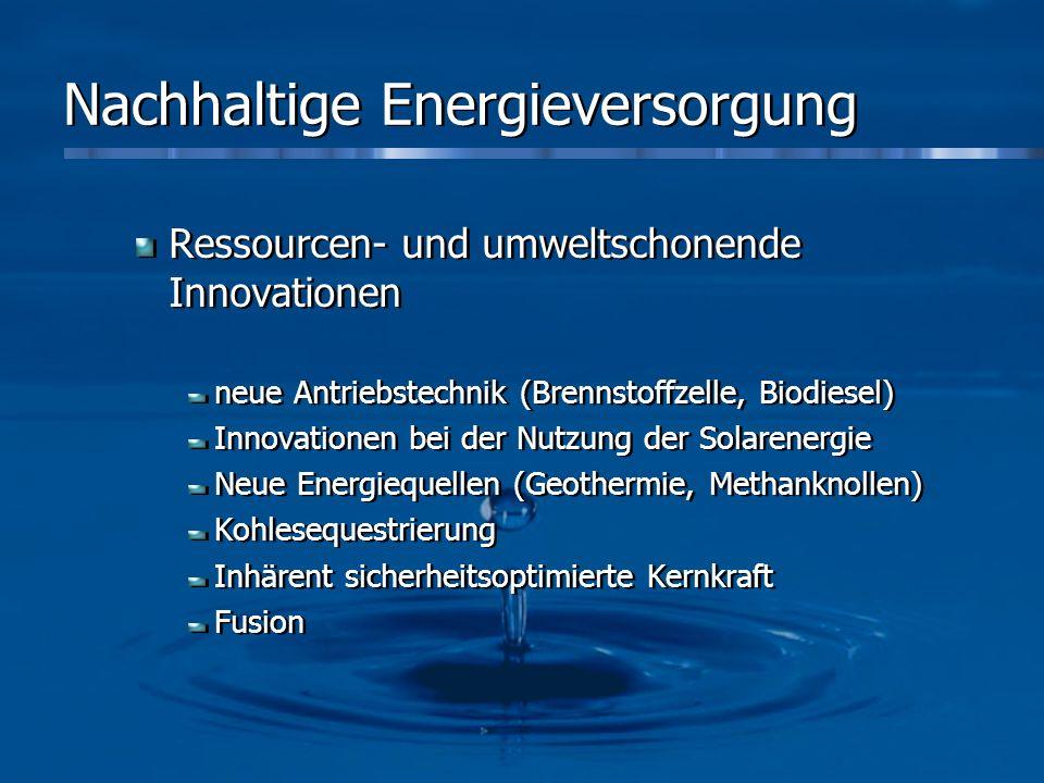 Nachhaltige Energieversorgung Ressourcen- und umweltschonende Innovationen neue Antriebstechnik (Brennstoffzelle, Biodiesel) Innovationen bei der Nutz