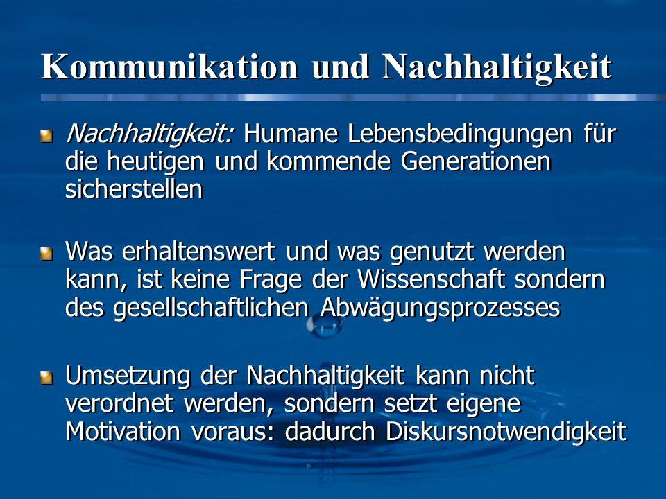 Kommunikation und Nachhaltigkeit Nachhaltigkeit: Humane Lebensbedingungen für die heutigen und kommende Generationen sicherstellen Was erhaltenswert u