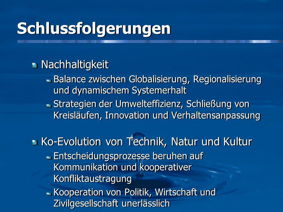Schlussfolgerungen Nachhaltigkeit Balance zwischen Globalisierung, Regionalisierung und dynamischem Systemerhalt Strategien der Umwelteffizienz, Schli
