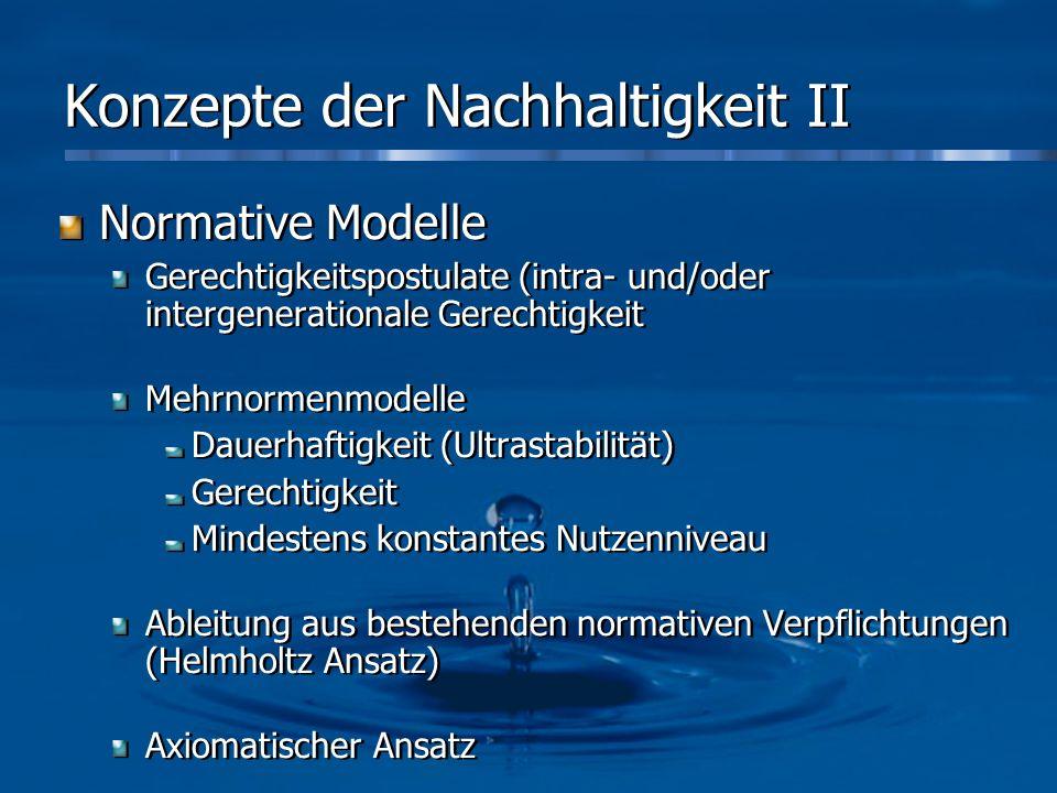 Konzepte der Nachhaltigkeit II Normative Modelle Gerechtigkeitspostulate (intra- und/oder intergenerationale Gerechtigkeit Mehrnormenmodelle Dauerhaft