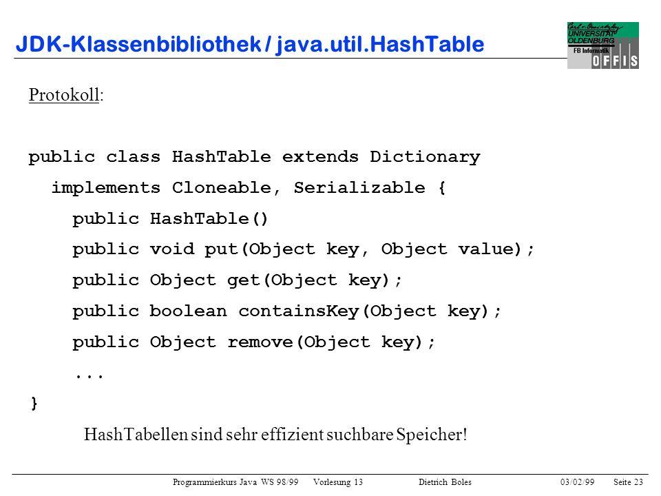 Programmierkurs Java WS 98/99 Vorlesung 13 Dietrich Boles 03/02/99Seite 23 JDK-Klassenbibliothek / java.util.HashTable Protokoll: public class HashTable extends Dictionary implements Cloneable, Serializable { public HashTable() public void put(Object key, Object value); public Object get(Object key); public boolean containsKey(Object key); public Object remove(Object key);...